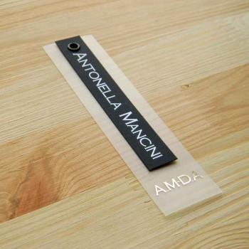 """Пластиковая навесная этикетка с картоном и люверсом """"Antonella Mancini"""" 12,5х3 см"""