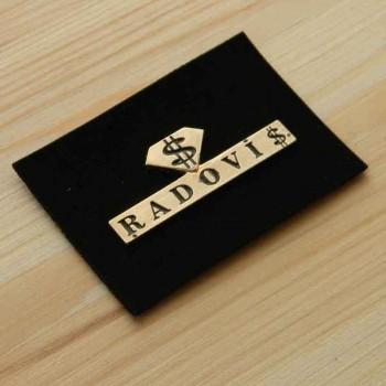 Кожаные этикетки с металлом и Вашим логотипом