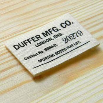 """Печатная этикетка """"Duffer"""" 5,5х2,5 см"""