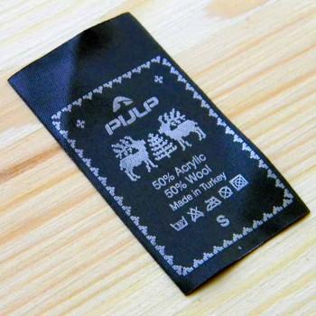 "Атласная этикетка на одежду ""Pijlp""  6,5х3,5 см"