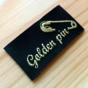 """Этикетки с шелковой нитью """"Golden pin"""" 5х2 см"""