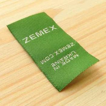 """Жаккардовая пришивная этикетка """"Zemex"""" 4,5х2,5 см"""