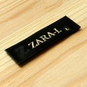"""Жаккардовая (тканая) этикетка """"Zara-L"""" люрекс, 6х1,5 см"""