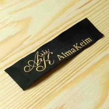 """Тканая этикетка с шелковой нитью """"Alma Keim"""" 7,5х2 см"""